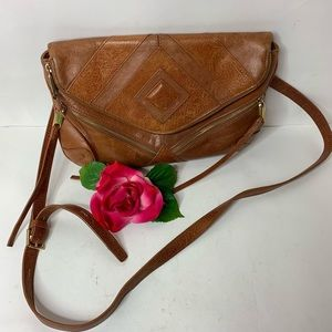 Joes Jeans Brown Leather Envelope Crossbody Purse